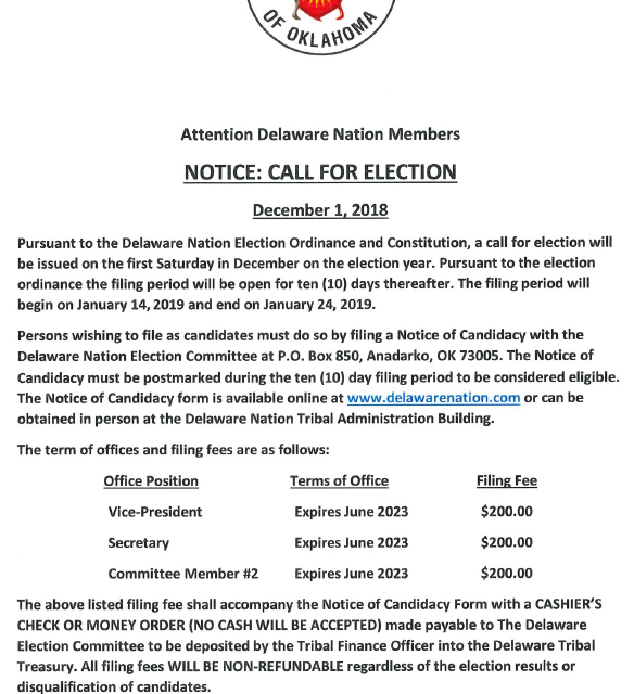 Call For Election